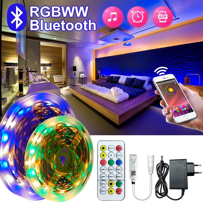 5050rgbww waterproof a luz conduzida com smd fita flexível 5m 15m conduziu a luz 2835rgb 10m fita diodo dc 12v telefone inteligente bluetoothapp