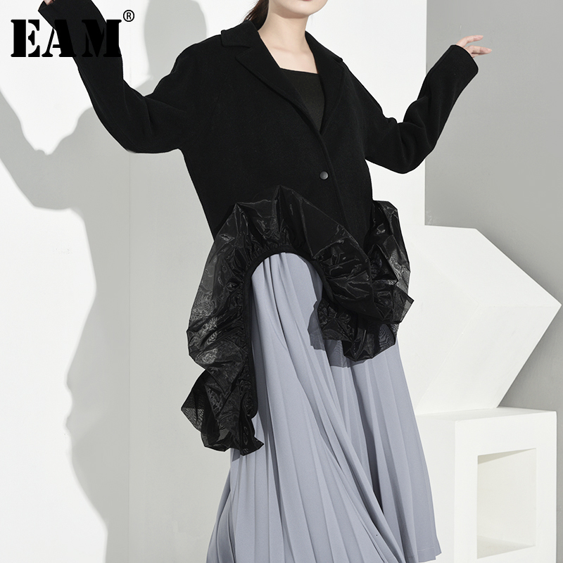 [EAM] 2020 Spring Autumn Woman Black Color Long Sleeve Turn-down Collar Single Button Spliced Mesh Long Wide-waisted Coat LE004