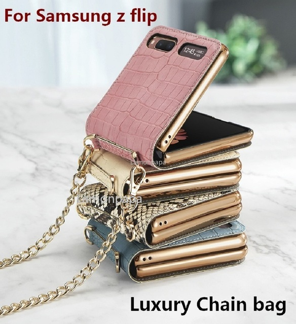 Luxury Case for Samsung Z Flip 5G Magnetic Mirror Fold Phone Case with Chain Strap Shockproof Cover for Samsung Z Flip Case 1