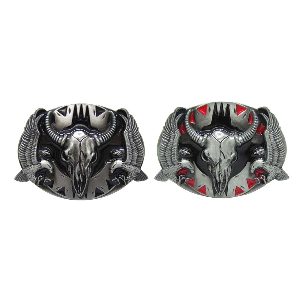 Mens' Belt Buckle Eagle 3D Cow Head Western Cowboy Pin Buckles Oval Jeans Buckle Jewelry