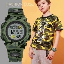 Дети часы водонепроницаемый красочный светящийся циферблат спорт ребенок мальчики часы камуфляж военные часы студент relogio infantil menino