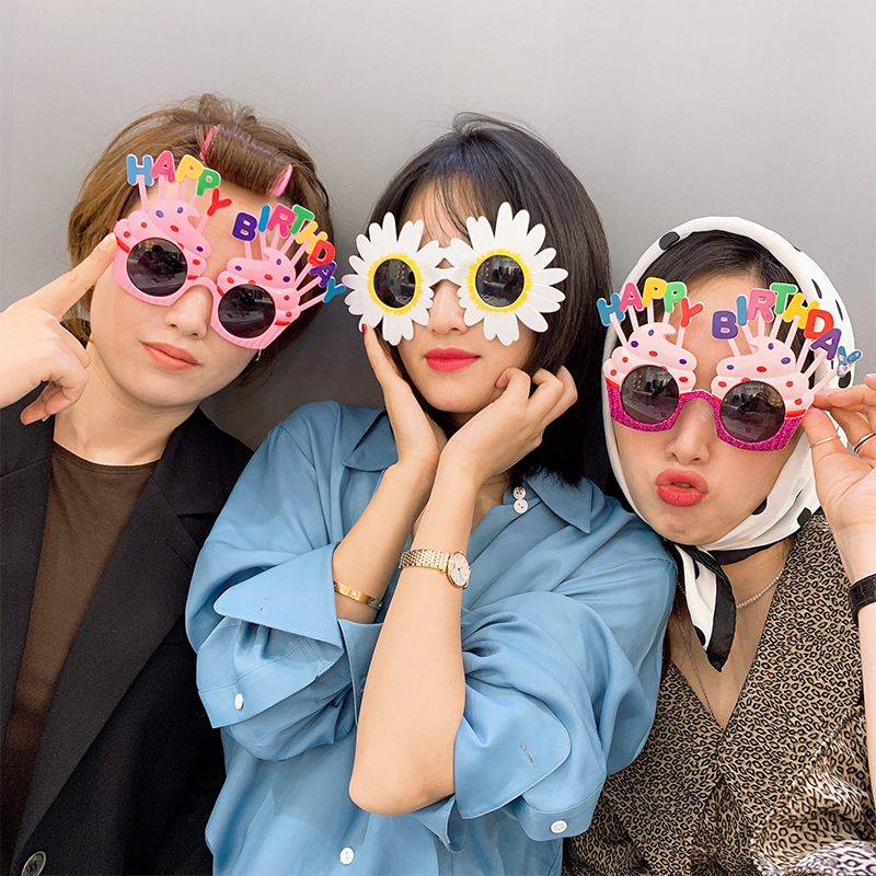 Happy Birthday Sunglasses Sweet Cream Cake Glasses Costume Glasses Props Funny Novelty For Boys Girls Birthday Party Favors