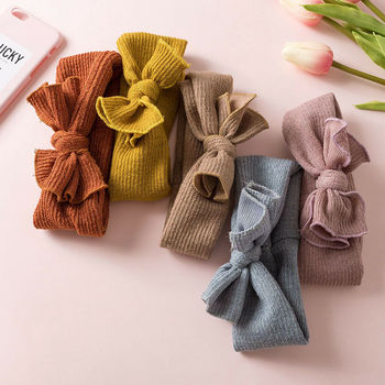 Cute Baby Girl Headbands Knitted Newborn Bows Turban Infant Headband Warm Hairbands Headwrap Kids Hair Accessories