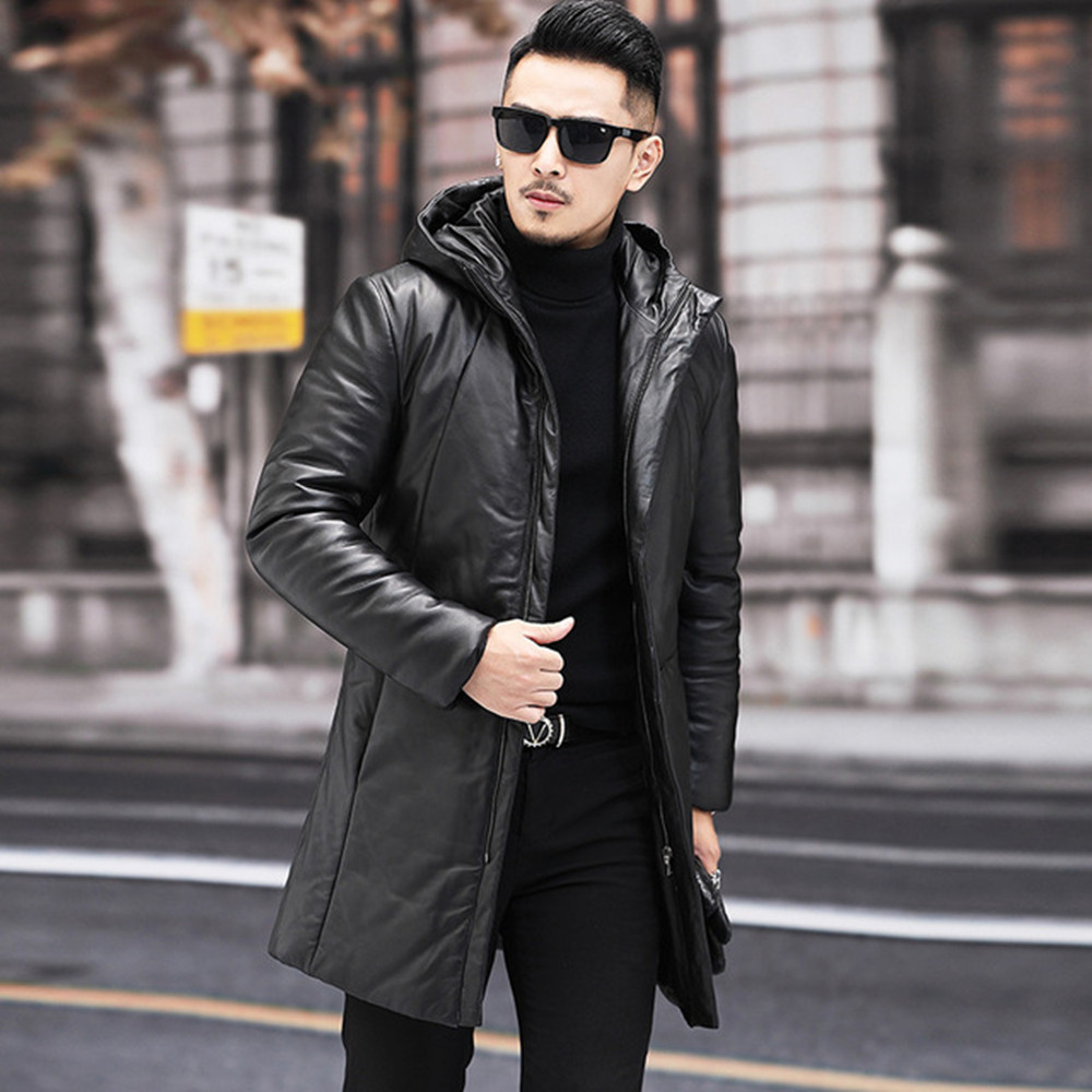 Jacket Down-Coat Winter Genuine-Leather Thick Slim Hooded Youth Men's Mid-Length New