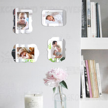 "4pcs Photo Picture Frame For Baby Pictures Poster Wall Magnetic Thin Mirror Frames Set Hand draw Creative 3.5X5"" 4x6"" 5x7"" F009(China)"