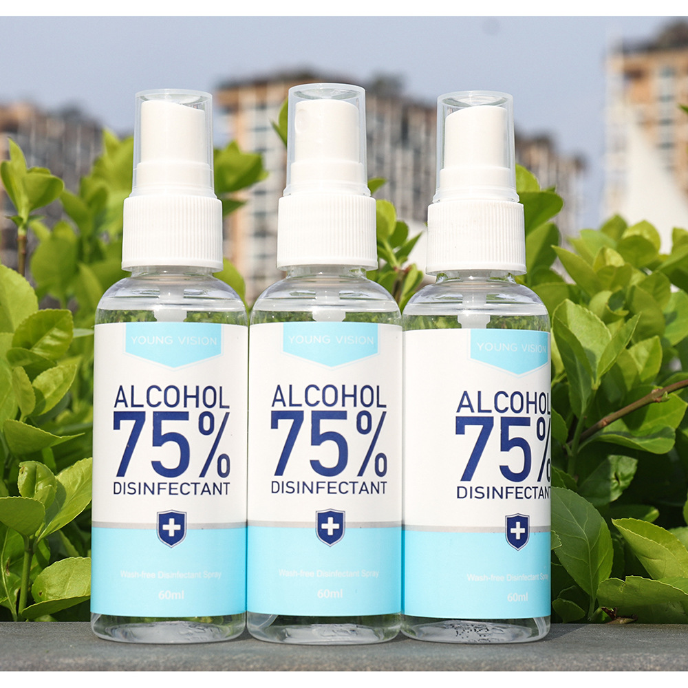 480pcs 60ml Disinfection Rine-free Hand Sanitizer 75% Alcohol Spray Portable Disposable Prevention Hand Sanitizer