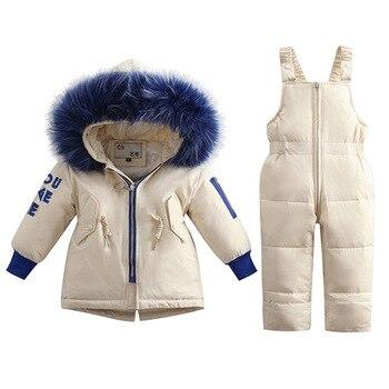2019 Russian Winter Children clothing set Suit Boys baby Girl kids Clothes Duck Down Jacket Warm Hooded Newborn Infant Snowsuit