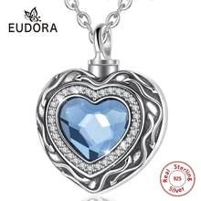 Eudora – médaillon en forme de cœur en argent Sterling, collier de pierre de naissance en cristal bleu, bijoux souvenir, pour crémation commémorative, CYG004