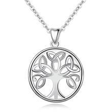 EUDORA 925 Sterling Silver Tree of Life Pendant Necklace Irish Celtics Knot Crann Bethadh Sliver jewelry For Women Girls CYD147