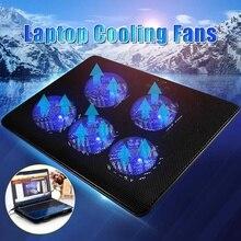 5 Вентилятор Мощный USB светодиодный ПК ноутбук охлаждающий кулер подставка охлаждающий вентилятор бесшумный радиатор
