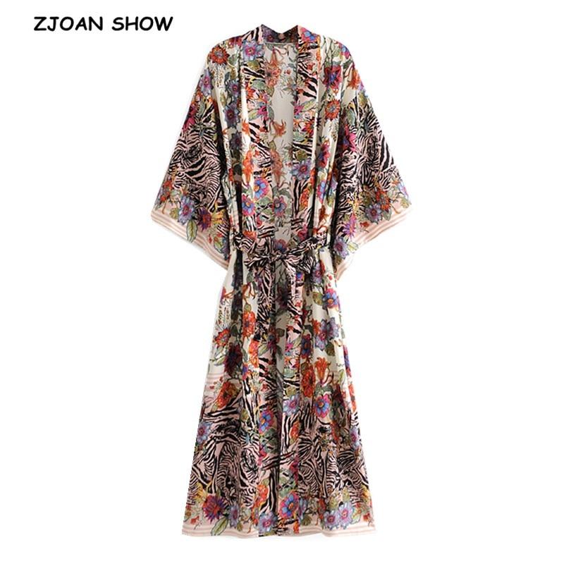 2021 Bohemia Locate Floral Print Long Kimono Shirt Hippie Women Lacing up Tie Bow Sashes Cardigan Loose Blouse BOHO Tops Holiday