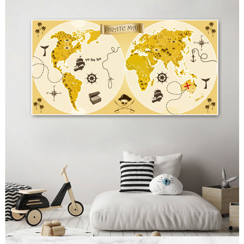 Large World Map Cartoon Animal Infographic Posters And Prints Nursery Baby Wall Art Canvas painting For Childrens RoomDecoration image
