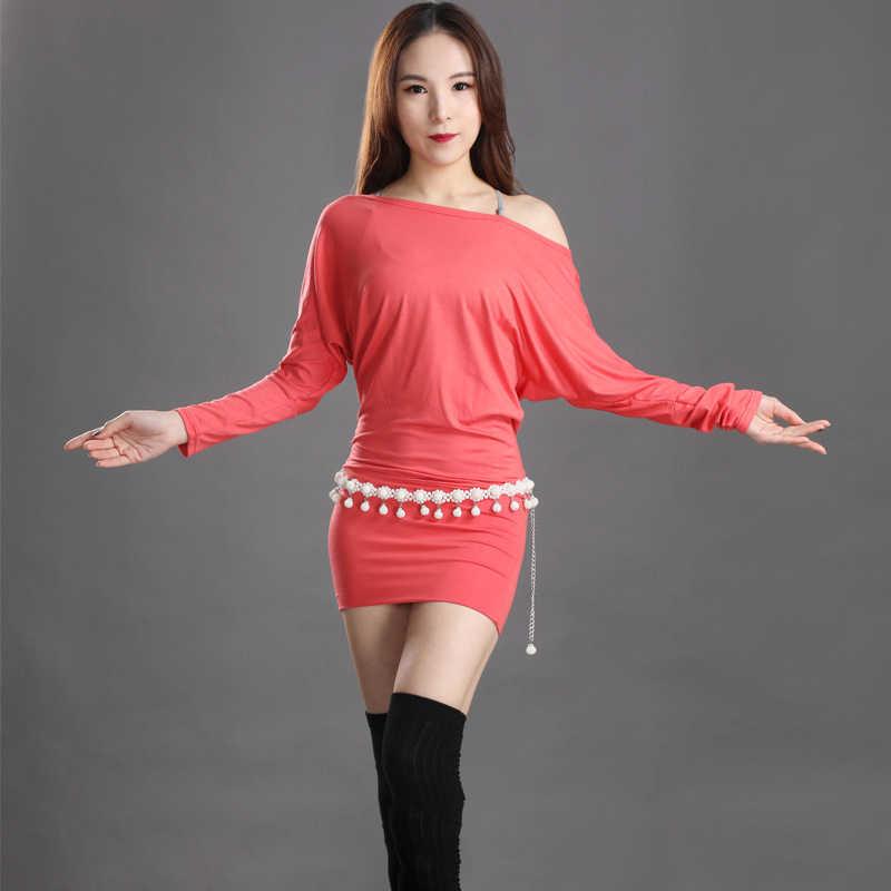 Yeni oryantal dans uygulama tek parça etek dans elbise kadın seksi pamuk oryantal dans kostümü elbise Baladi elbise halk dans giyim