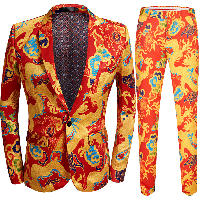 Chinese Style Dragon Printed Suit Men 2019 Slim Fit 2 Piece Full Suits Drama Dress Host Show Casual Business Suits Blazers Pants