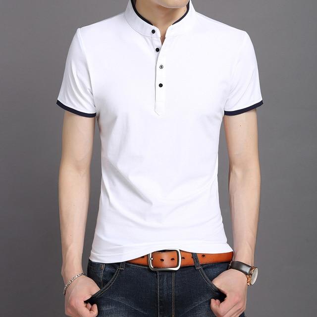 Летняя мужская футболка хорошего качества, плюс размер, мужские базовые футболки на пуговицах