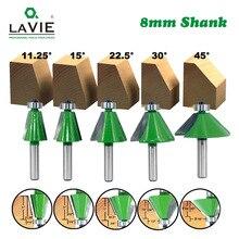 LAVIE 5pcs Set 8mm Shank Afschuining Router Bit 11.25 15 22.5 30 45 Graden Frees voor Hout woodorking Machine Gereedschap MC02111
