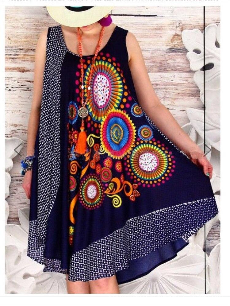 Aliexpress 여름 새로운 대형 여성 꽃 드레스를 찾는 꽃 인쇄 꽃 레트로 라운드 넥 민소매 느슨한 대형 사이즈