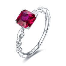 Sterling Silver Gemstone Jewelry Cushion Ruby Ring Engagement Ring Retro Classic 18K White Gold Plated Ring Luxury 925 with Box(China)