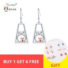 Strollgirl New Sterling Silver 925 Animal Drop earring Cute Elegant Owl Earrings Fashion Fine Jewelry For Women Gift 2019
