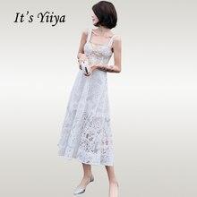Its Yiiya Prom Dress Elegant White Illusion Lace Women Party Night Dresses Boat Neck Sleevless Backless Vestidos De Gala E694