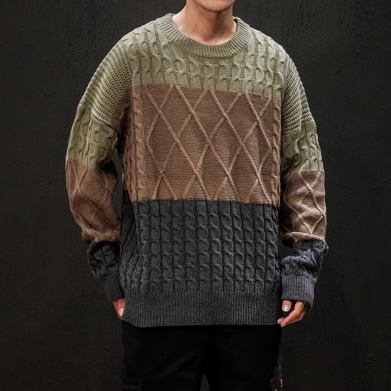Winter Thick Sweater Men's Warm Fashion Hit Color Retro O-neck Knit Pullover Men Knitting Sweaters Male Sweter Clothes