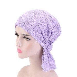 Image 5 - Nowy damski bawełniany kapelusz po chemioterapii czapka Turban z łbem nakrycia głowy dla raka muzułmańskiego jednokolorowego
