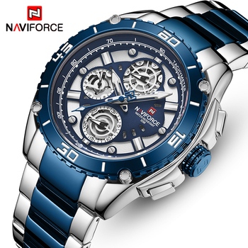 NAVIFORCE 9173 Watch Men Stainless Steel Sport Watches with box
