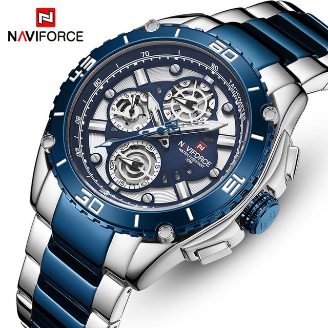 NAVIFORCE Luxury Brand Watch Men Stainless Steel Sport Watches Mens Business Quartz Wristwatch Date Male Clock Relogio Masculino