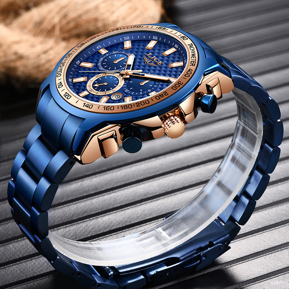 H3439acadde9d4dcbbfbdfe7815e0817b0 - LIGE New Fashion Blue Watch,Mens Watches Top Brand Luxury Clock Man Military Chronograph Quartz Watch Men Relogio Masculino