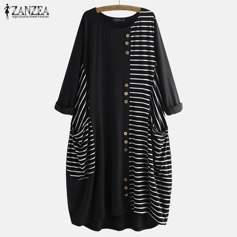 ZANZEA Autumn O Neck Long Sleeve Baggy Sundress Women Striped Dress Elegant Ladies Work Midi Vestido Femme Patchwork Plus Size