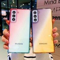 Custodia colorata sfumata per Samsung Galaxy S21 FE S10 S9 S20 Plus S21 Ultra Note 20 10 Note 10 Lite Cover posteriore trasparente in silicone morbido