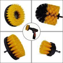 Kit de escova de broca elétrica escova de limpeza redonda de plástico para o tapete de vidro pneus de carro escovas de náilon power scrubber broca
