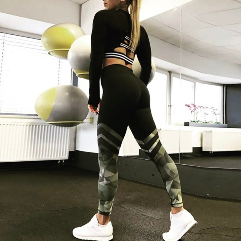 Camouflage Stripe Body Yoga Pants Fitness Building RuningWomen Leggings Sportswear Athleisure Female Tight Pant High Elastic Hot