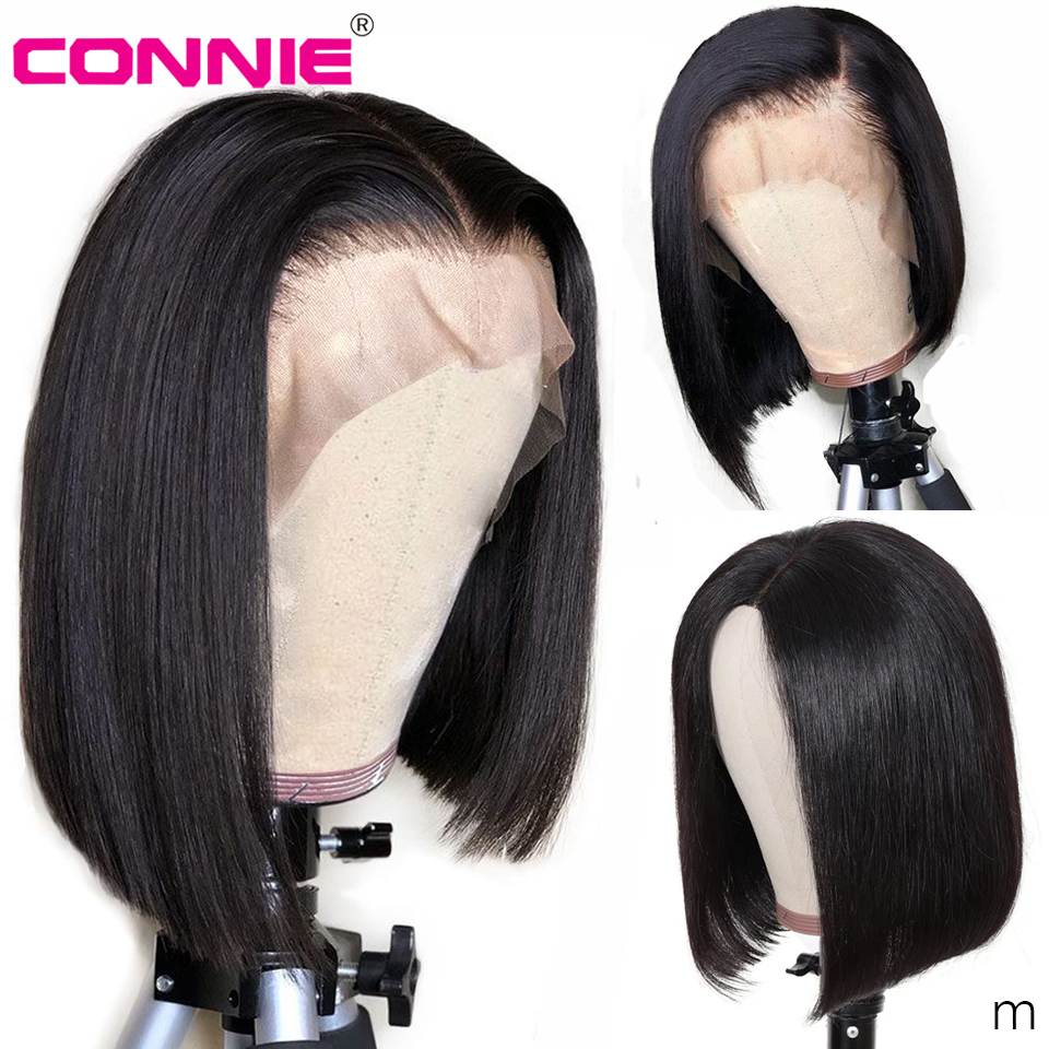Connie Hair 13X4 Short Bob Lace Front Wigs Human Hair Indian Remy Natural Black Pre Plucked Bleached Knots For Women