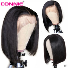 Connie Hair 13X4 Short Bob Lace Front Wigs Human Hair Indian Remy Natural Black Pre Plucked Bleached Knots For Women(China)