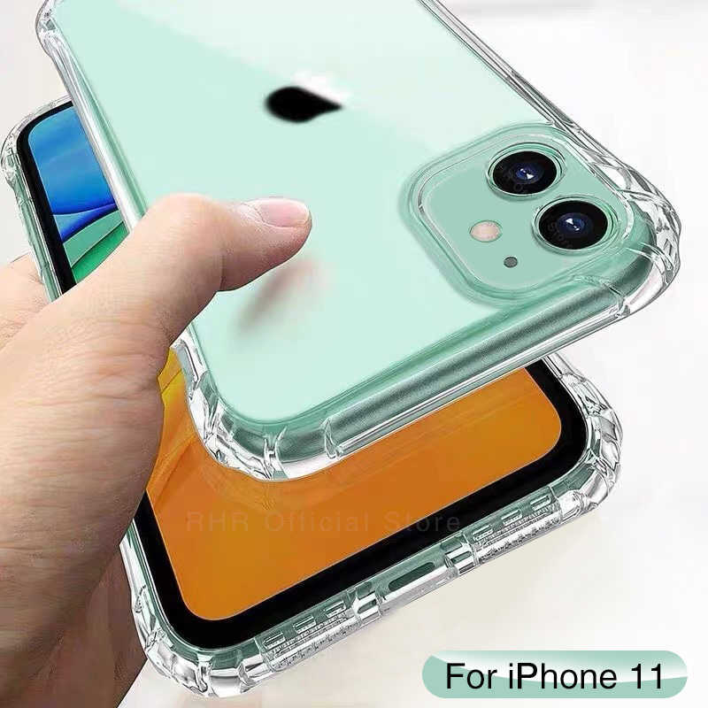 Transparan Kasus Shockproof Silicone untuk iPhone 11 Pro X XS Max XR 6 6S 7 Plus SE 2020 11 Case 360 Melindungi Cover
