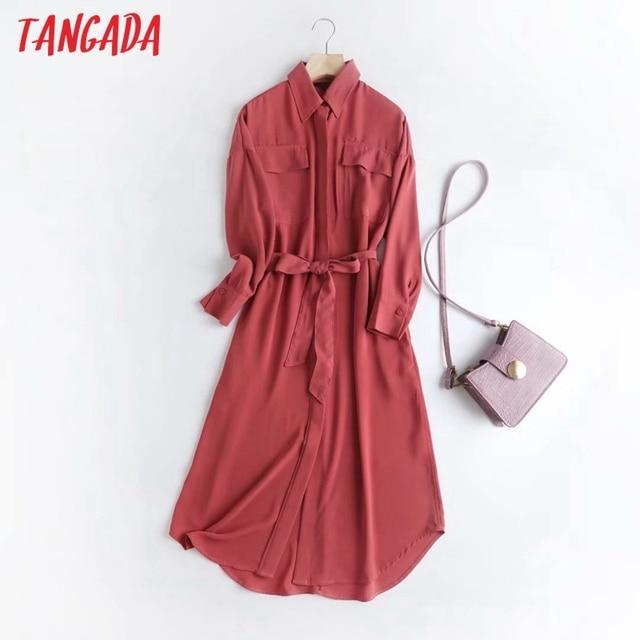 Tangada Fashion Women Elegant Solid Shirt Dress High Quality Long Sleeve Ladies Midi Dress Vestidos 4C58 2