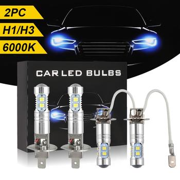 2Pcs 12V-24V H1/H3 LED Headlight Bulb Waterproof Super Bright Fog Light Corrosion Resistant Daytime Running Light 6000K White image