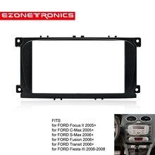 2din araç DVD oynatıcı radyo çerçeve için Ford Focus II c max s max Fusion paneli Dash montaj çift Din fasya yüklemek kiti tamir çerçeve siyah