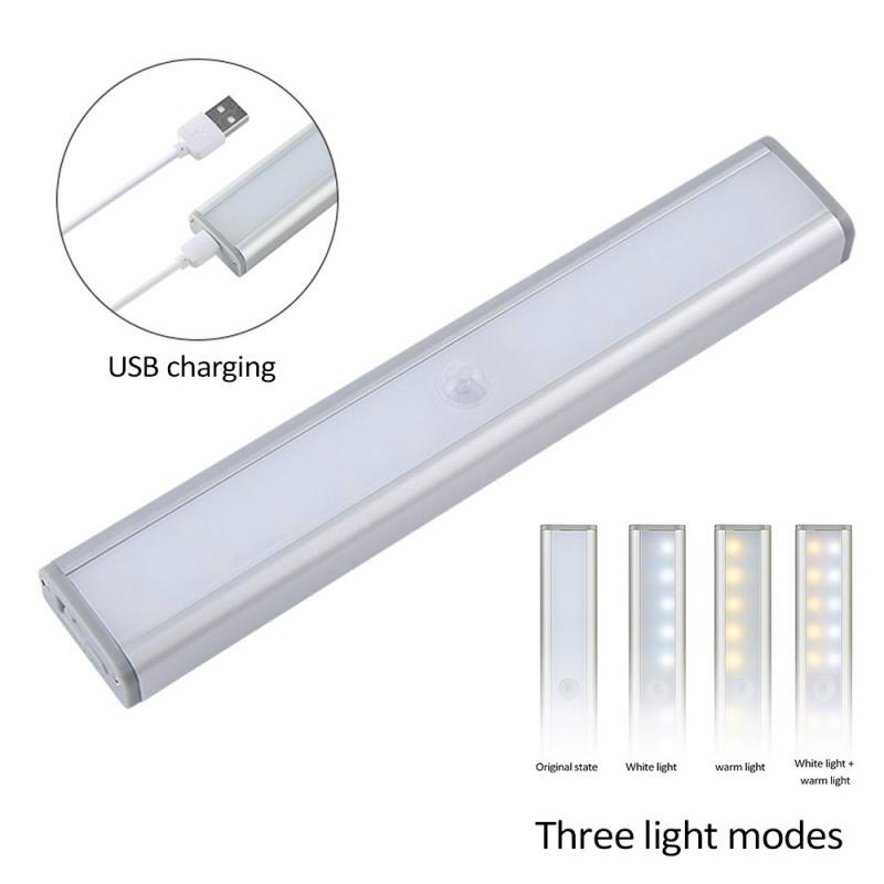 20LED Motion Sensor Closet Lights 3Modes White/Warm White LED Night Light Sensor USB Rechargeable Wireless Cabinet Kitchen Light