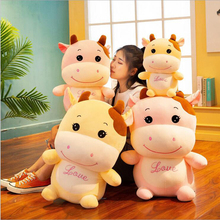 купить Cute Cartoon Cattle Plush Toy Stuffed Animal Small Cow Doll Toys Soft Plush Pillow New Style Children Toy Gifts по цене 626.56 рублей