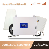 Gsm 2g 3g 4g telefone celular impulsionador banda tri móvel amplificador de sinal lte repetidor celular gsm dcs wcdma 900 1800 2100 conjunto|Estação de retransmissão| |  -