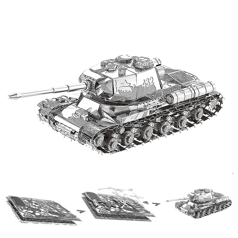 JS-2 Tiger Chieftain Tank 3D Metal Puzzle Model Kits DIY Laser Cut Assemble Jigsaw Toy Desktop Decoration GIFT For Children