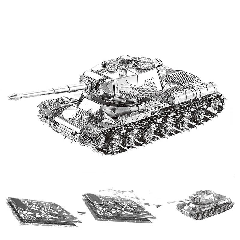 JS-2 Tiger Chieftain Tank 3D Metal Puzzle Model Kits DIY Laser Cut Assemble Jigsaw Toy Desktop Decoration GIFT For Children