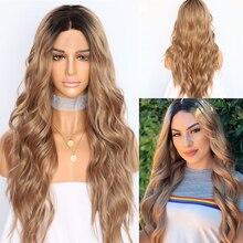 BeautyTown perruque en soie avec racines foncées ombré marron naturel ondulé, maquillage quotidien de reine, perruque synthétique présente pour femmes, mariage