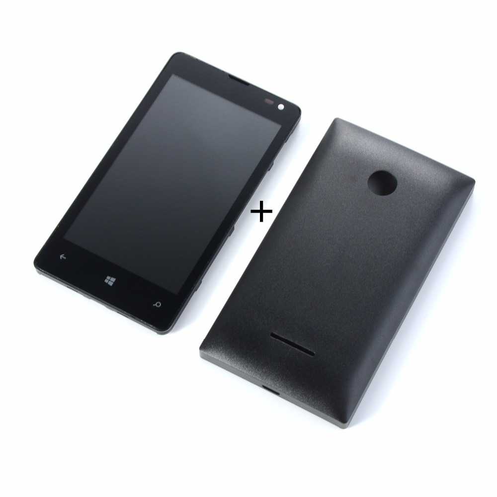 LCD Screen For <font><b>Nokia</b></font> 435 532 N435 N532 LCD Display Touch Screen Digitizer(lcd+touch screen+frame+<font><b>battery</b></font> back <font><b>cover</b></font>) image