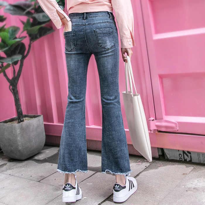 שומן Mm סתיו חדש סגנון גדול גודל ג 'ינס נשים של גבוהה מותן רחב רגל הרזיה קאפרי שיק מיקרו מתרחב מכנסיים דור
