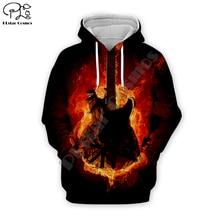 Men Hip Pop Fire Electric Guitar 3D Print DJ Hoodies casual Sweatshirt unisex pullover Harajuku zipper coat women tshirt vest