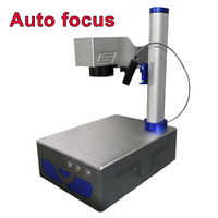 Auto focus 20W 30W Raycus Fiber Laser Marking Machine with Electric lift laser head engrave gold sliver steel metal Alumina