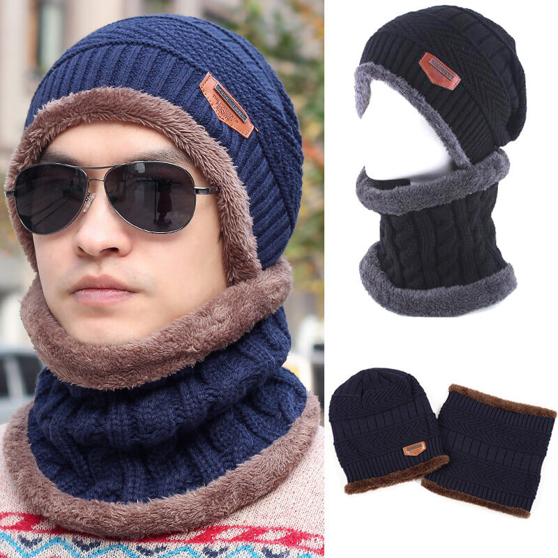 2019 New Casual Mens Womens   Beanie   Hat + Scarf Neck Warmer Winter Thermal Ski Caps Set
